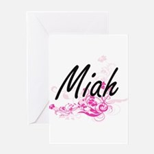 Miah Artistic Name Design with Flow Greeting Cards