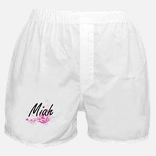 Miah Artistic Name Design with Flower Boxer Shorts