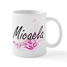 Micaela Artistic Name Design with Flowers Mugs