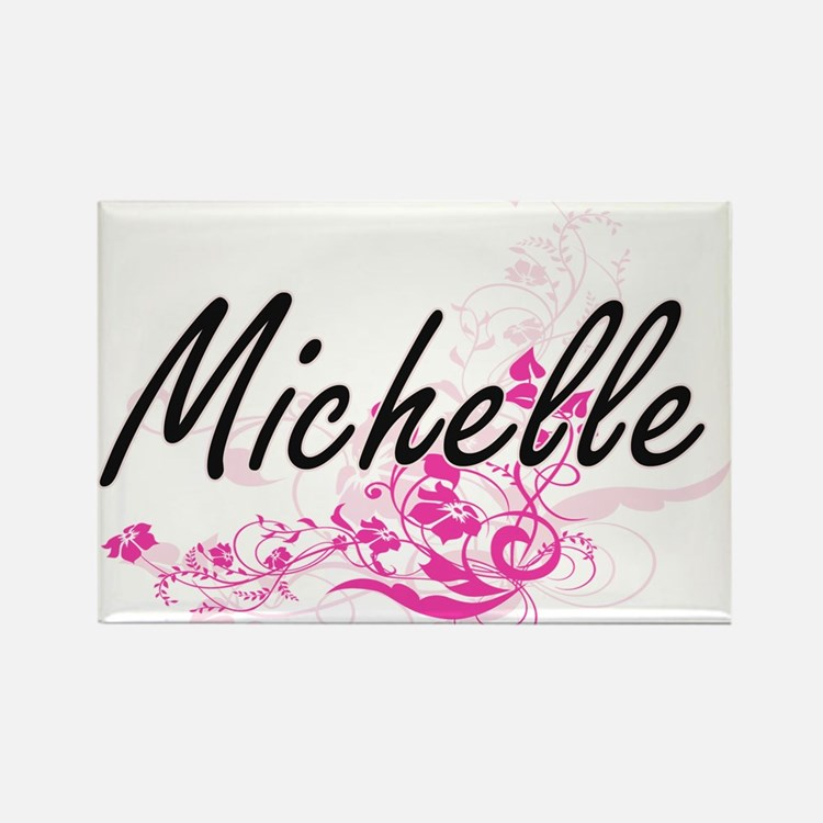 Michelle Artistic Name Design with Flowers Magnets