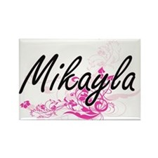 Mikayla Artistic Name Design with Flowers Magnets