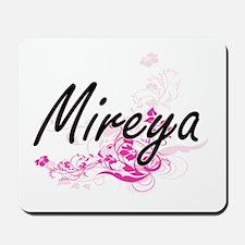Mireya Artistic Name Design with Flowers Mousepad