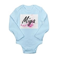 Miya Artistic Name Design with Flowers Body Suit