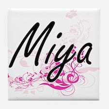 Miya Artistic Name Design with Flower Tile Coaster