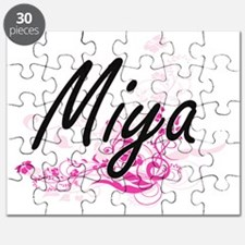 Miya Artistic Name Design with Flowers Puzzle