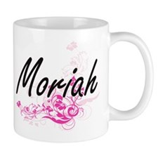 Moriah Artistic Name Design with Flowers Mugs