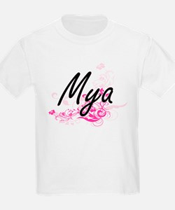 Mya Artistic Name Design with Flowers T-Shirt