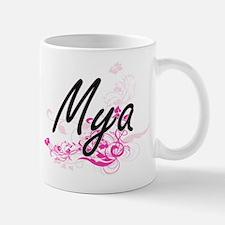 Mya Artistic Name Design with Flowers Mugs