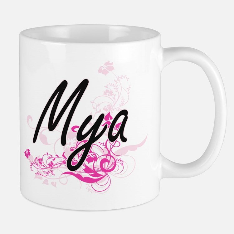Mya Artistic Name Design with Flowers Mugs