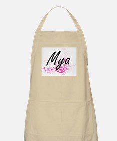 Mya Artistic Name Design with Flowers Apron
