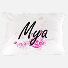 Mya Artistic Name Design with Flowers Pillow Case