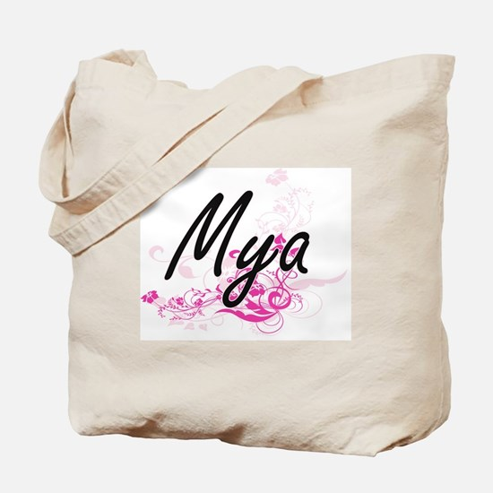 Mya Artistic Name Design with Flowers Tote Bag