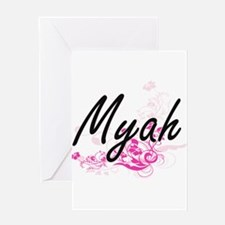 Myah Artistic Name Design with Flow Greeting Cards