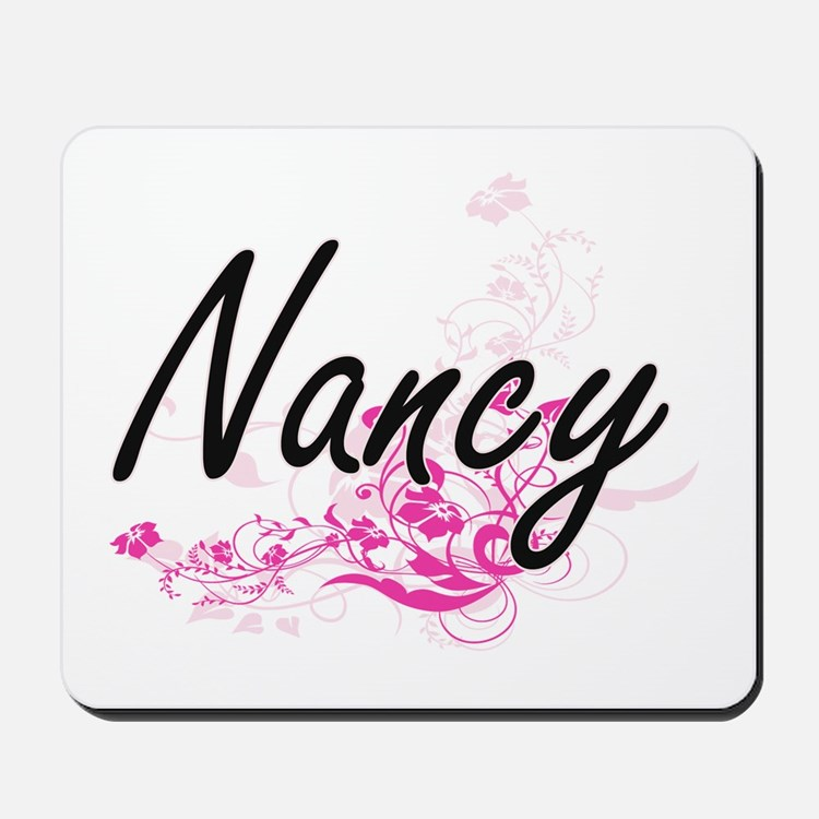 Nancy Artistic Name Design with Flowers Mousepad