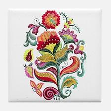 Jacobean Flowers Tile Coaster