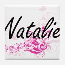 Natalie Artistic Name Design with Flo Tile Coaster