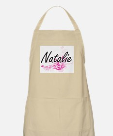 Natalie Artistic Name Design with Flowers Apron