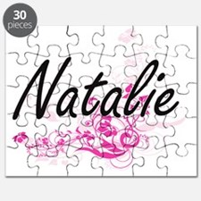 Natalie Artistic Name Design with Flowers Puzzle