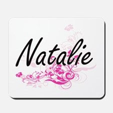 Natalie Artistic Name Design with Flower Mousepad