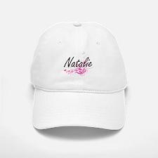 Natalie Artistic Name Design with Flowers Baseball Baseball Cap