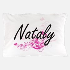 Nataly Artistic Name Design with Flowe Pillow Case