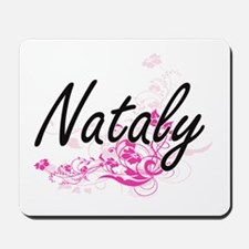 Nataly Artistic Name Design with Flowers Mousepad