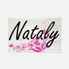 Nataly Artistic Name Design with Flowers Magnets