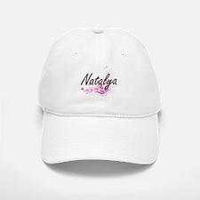 Natalya Artistic Name Design with Flowers Baseball Baseball Cap