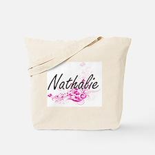 Nathalie Artistic Name Design with Flower Tote Bag