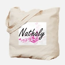 Nathaly Artistic Name Design with Flowers Tote Bag