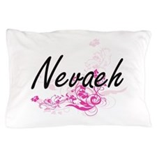 Nevaeh Artistic Name Design with Flowe Pillow Case