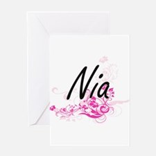 Nia Artistic Name Design with Flowe Greeting Cards