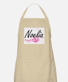 Noelia Artistic Name Design with Flowers Apron