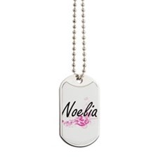 Noelia Artistic Name Design with Flowers Dog Tags