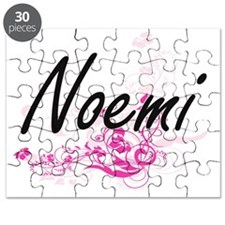 Noemi Artistic Name Design with Flowers Puzzle