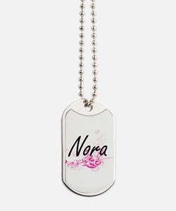 Nora Artistic Name Design with Flowers Dog Tags