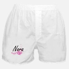 Nora Artistic Name Design with Flower Boxer Shorts