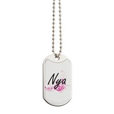 Nya Artistic Name Design with Flowers Dog Tags
