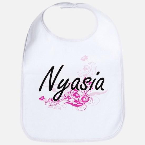 Nyasia Artistic Name Design with Flowers Bib