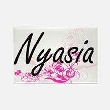 Nyasia Artistic Name Design with Flowers Magnets