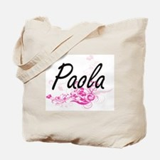 Paola Artistic Name Design with Flowers Tote Bag
