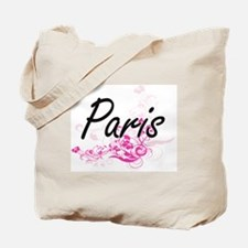 Paris Artistic Name Design with Flowers Tote Bag