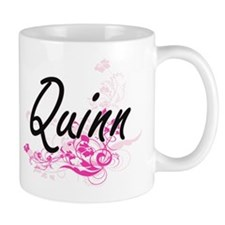 Quinn Artistic Name Design with Flowers Mugs
