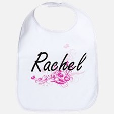 Rachel Artistic Name Design with Flowers Bib