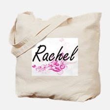 Rachel Artistic Name Design with Flowers Tote Bag