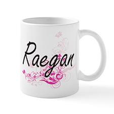 Raegan Artistic Name Design with Flowers Mugs