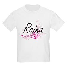 Raina Artistic Name Design with Flowers T-Shirt