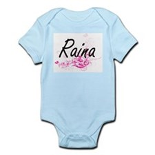 Raina Artistic Name Design with Flowers Body Suit