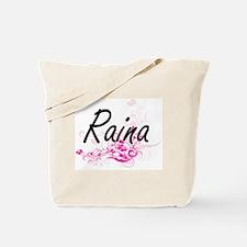 Raina Artistic Name Design with Flowers Tote Bag