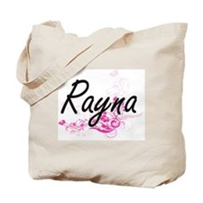Rayna Artistic Name Design with Flowers Tote Bag